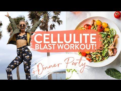 CELLULITE BLAST BOOTY & LEG WORKOUT + Healthy Dinner Party | MY SECRET RECIPE