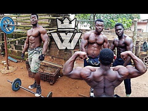 AFRICAN Bodybuilders Training in REAL STREET GYM!!!