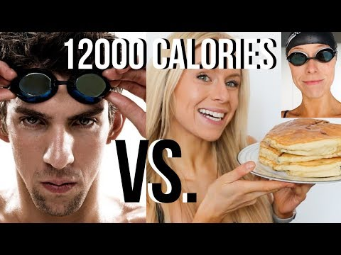 I Did Michael Phelps 12,000 CALORIE DIET & Workout  | GIRL vs. OLYMPIAN