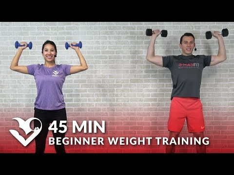 45 Min Beginner Weight Training for Beginners Workout – Dumbbell Strength Training for Women & Men