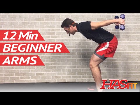 12 Min Beginner Arm Workout for Women & Men with Weights at Home – Easy Arm Workouts for Beginners