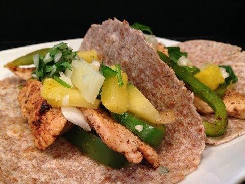 Chicken Fajita Recipe w/ Pineapple Salsa – HASfit Healthy Mexican Recipes – Chicken Fajitas
