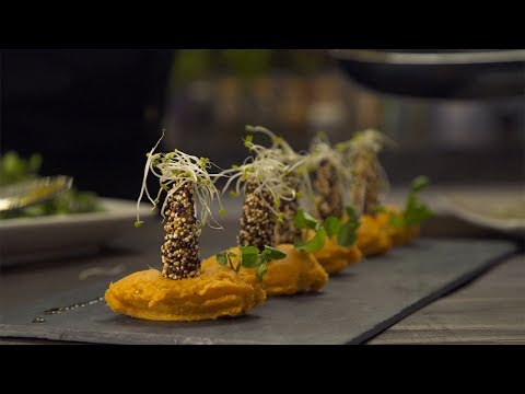 Recipe: Quinoa coated prawns and sweet mashed potatoes + Sparkling wine