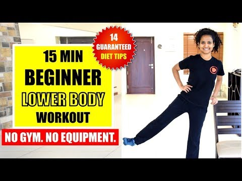 15 Min Easy Fat-Burning LOWER BODY Home Workout + 14 Diet Tips