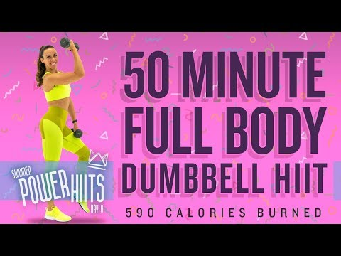 50 Minute Full Body Dumbbell HIIT Workout 🔥Burn 590 Calories!* 🔥Sydney Cummings