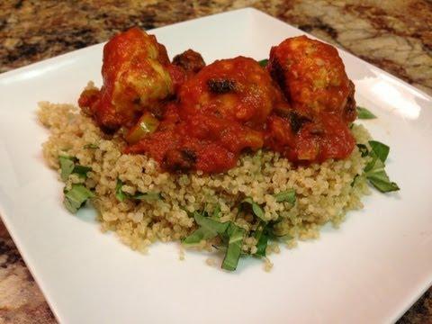 Turkey Meatball + Quinoa Recipe – HASfit Healthy Dinner Recipes – Baked Turkey Meatballs Recipe