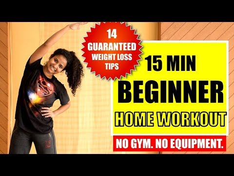 15 Min Easy Fat-Burning Home Workout + 14 Weight Loss Tips