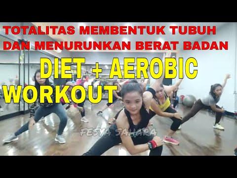 Diet plus aerobic workout, efektif menurunkan berat badan membentuk tubuh. senam aerobik low impact