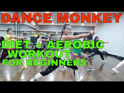 Diet plus aerobic workout part 2. ( DANCE MONKEY ) untuk pemula menurunkan berat badan