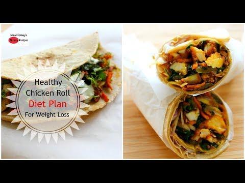 Tandoori Chicken Roll – Healthy Weight Loss Chicken Wrap Recipe – Diet Plan To Lose Weight Fast